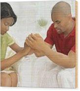 Man And Wife Pray Wood Print