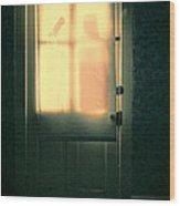 Man At Door With Cleaver Wood Print