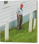 Man At Headstone Wood Print
