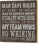 Man Cave Rules 1 Wood Print