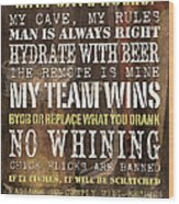Man Cave Rules 2 Wood Print by Debbie DeWitt