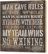 Man Cave Rules Square Wood Print