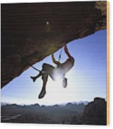 Man Climbing On An Overhang In Joshua Wood Print