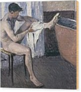Man Drying His Leg  Wood Print