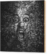 Man Eyes Face Horror Portrait Black And White  Wood Print