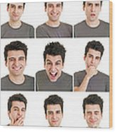 Man Face Expressions Wood Print