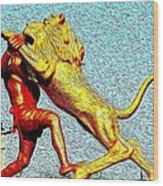 Man Fighting With Lion Bravery Wood Print