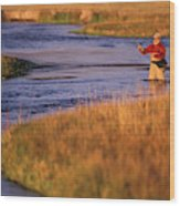 Man Fly Fishing On The Owens River Wood Print