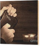 Man Hands And Bible Wood Print by Olivier Le Queinec