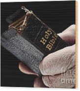 Man Hands Holding Old Bible Wood Print