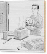 Man, Holding Dog, Speaks To Dog As Both Watch Wood Print