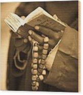 Man Holding Prayer Book Ethiopia Wood Print