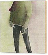 Man In A Green Jacket Fashion Illustration Art Print Wood Print