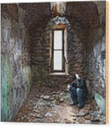 Man In Abandoned Building Wood Print