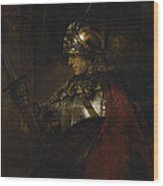 Man In Armor Wood Print