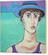 Man In Blue Hat Wood Print