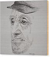 Man In Cap Wood Print by Glenn Calloway