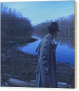 Man In Fedora By River Wood Print