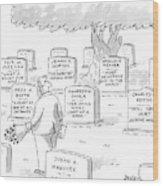 Man In Graveyard Looks At Tombstones Wood Print