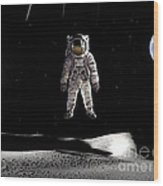 Man In Space Wood Print