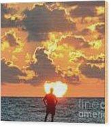 Man In Sunrise Wood Print