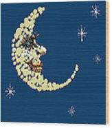 Man In The Moon Dazzled Wood Print by R  Allen Swezey
