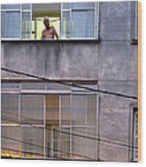 Man In The Window Wood Print