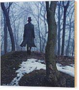 Man In Top Hat Walking Through Foggy Woods Wood Print