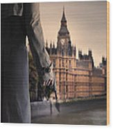 Man In Trenchcoat With A Gun In London Wood Print