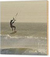 Man Kitesurfing On High Waves Wood Print