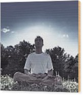Man Meditating In The Nature During Sunrise Wood Print
