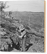 Man Mining Ore Wood Print