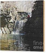 Man On A Waterfall Ledge Wood Print