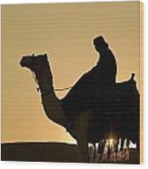 Man On Camel At Dusk Near The Pyramids Wood Print