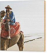 Man On Camel On Beach, Taghazout Wood Print