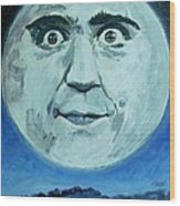 Man On The Moon Wood Print