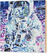 Man On The Moon - Watercolor Portrait Wood Print