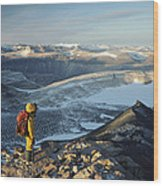 Man Overlooking Olympus Range Antarctica Wood Print