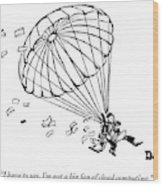 Man Parachuting While Working On His Laptop Wood Print