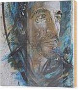 Man Portrait By C215 Wood Print