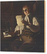 Man Reading By Candlelight Wood Print