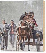 Man Riding A Carriage At Kashgar Sunday Market China Wood Print