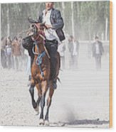 Man Riding A Horse At Kashgar Sunday Market China Wood Print