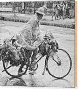 Man Riding Bicycle Carrying Chickens Wood Print