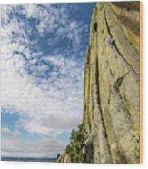 Man Rock Climbing At Devils Tower Wood Print