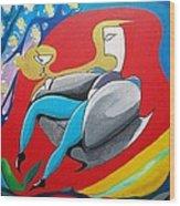 Man Sitting In Chair Wood Print