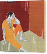 Man Sitting On Floor Of Jail Cell Wood Print