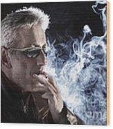 Man Smoking Cigarette Wood Print