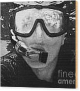 Man Snorkeling With Mask And Snorkel In Clear Water Dry Tortugas Florida Keys Usa Wood Print