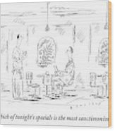 Man Speaks To A Waiter At A Restaurant Wood Print